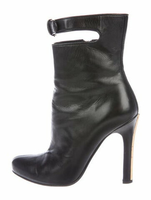 Miu Miu Leather Cutout Accent Boots Black
