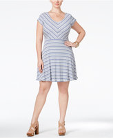 Love Squared Trendy Plus Size Cap-Sleeve Striped Fit & Flare Dress
