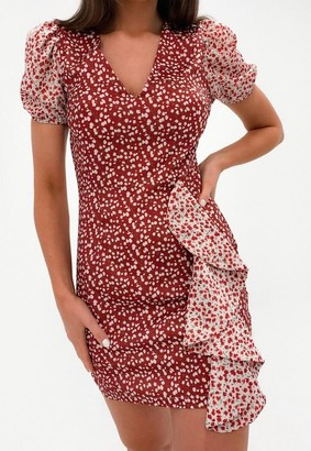 Missguided Petite Red Floral Print Wrap Mini Dress