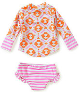 Jessica Simpson Baby Girls 12-24 Months Mixed-Media Rashguard Top & Striped Swim Bottom Set