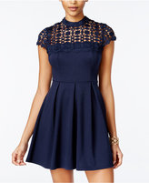 Sequin Hearts Juniors' Crochet-Trim Fit & Flare Dress