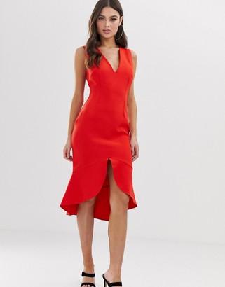 Vesper midi dress with soft pep hem in red