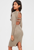 Missguided Grey Bonded Suede Buckle Back Midi Dress