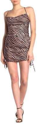 Honey Punch Zebra Cowl Neck Dress