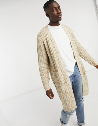 ASOS DESIGN knitted longline cable knit cardigan in oatmeal