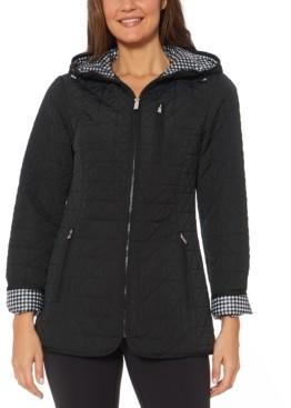 Jones New York Water-Resistant Hooded Quilted Jacket