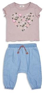 Peek Kids Girls' Lianna Cotton Floral Tee & Denim Pants Set - Baby