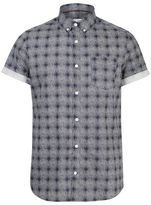Burton Mens Navy Short Sleeve Printed Check Shirt