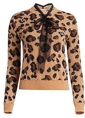 RED Valentino Women's Polka Dot Tie Neck Leopard Print Sweater