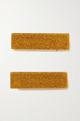Valet Studio Clementine Set Of Two Glittered Resin Hair Clips - Gold