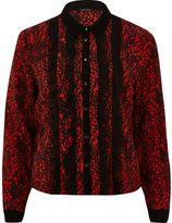 River Island Womens Red contrast print frill shirt