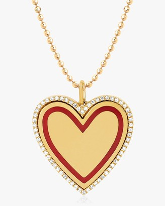Ef Collection Diamond-Rimmed Heart Pendant Necklace