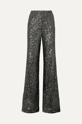 Alice + Olivia Dylan Sequined Tulle Wide-leg Pants - Anthracite
