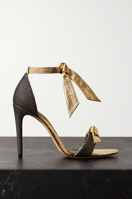 Alexandre Birman Clarita Mesh-trimmed Bow-embellished Metallic Watersnake Sandals - Gold