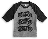 Urban Smalls Heather Gray & Charcoal Motorcycles Raglan Tee - Toddler & Boys