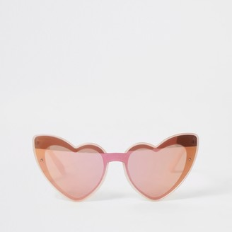 River Island Girls Pink heart shape mirrored sunglasses