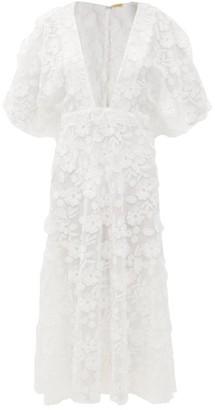 Dodo Bar Or Bernadette Floral-applique Cotton-voile Dress - White