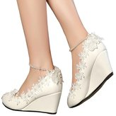 Getmorebeauty Women's Wedge Flowers Pearls Mary Janes Wedding Bridal Shoes