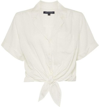 French Connection Yawa Valetduo Cropped Tie Front Shirt