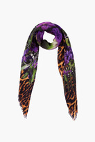 Givenchy Multicolor Wool Leopard Iris Scarf