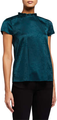 Laundry by Shelli Segal Ruffle-Neck Satin Blouse