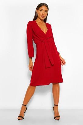 boohoo Woven Knot Front Wrap Midi Dress