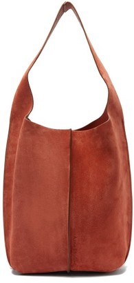 Acne Studios Topstitched-suede Shoulder Bag And Pouch - Tan