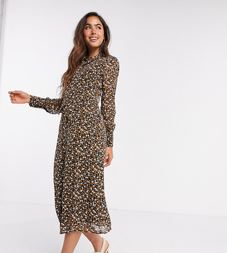 Fashion Union midi dress with high neck detail in retro floral priint