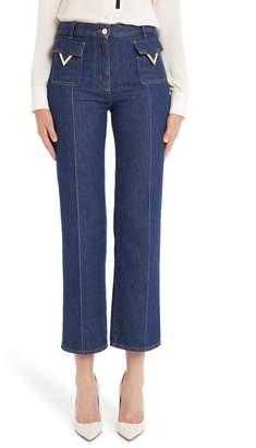 Valentino V-Detail Straight Crop Jeans