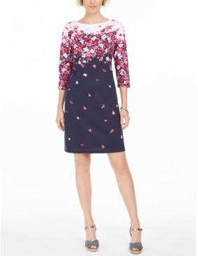 Karen Scott Petite Chloe Floral-Print Boat-Neck Dress, Created for Macy's