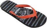 FLOSO Mens Striped Maui Hawaii Design Toe Post Flip Flops