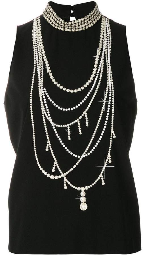 Moschino pearl necklace print tank top