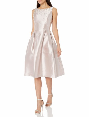 Tahari ASL Women's Pearl Embellished Fit & Flare Pleated Tea Length Dress