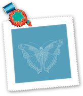 3dRose LLC PS Animals - White Butterfly - Quilt Squares - qs_192675_2