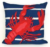 """Lobster on Stripes 18"""" Square Outdoor Pillow"""