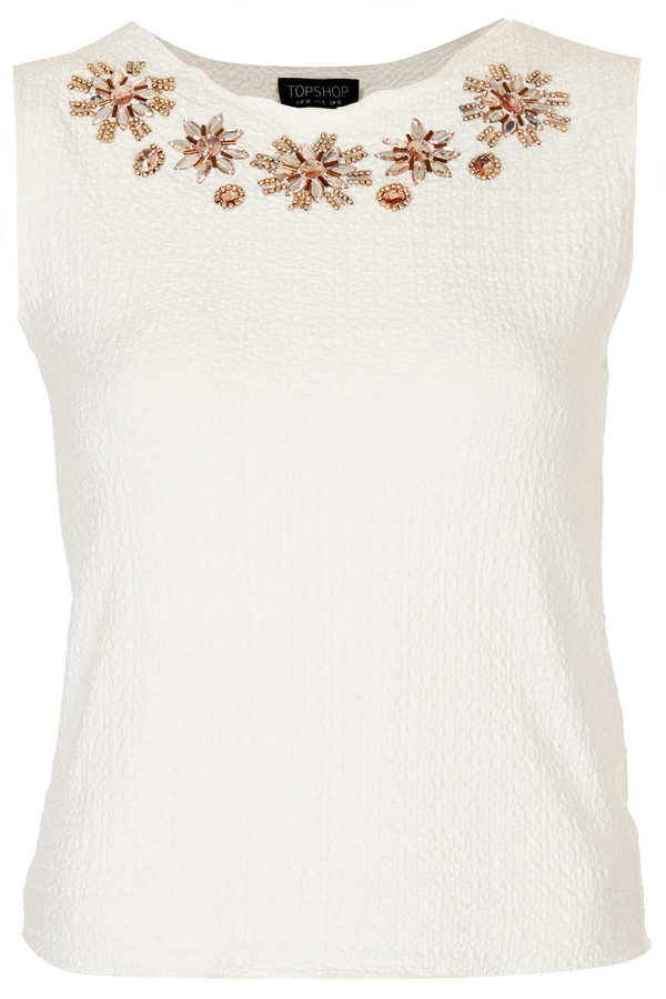 Topshop Embellished Textured Shell Top