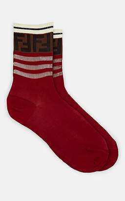 Fendi Women's Logo Cotton Ankle Socks - Red