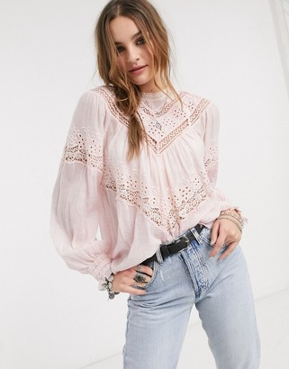 Free People abigail victorian broderie blouse in pink