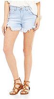 Celebrity Pink High Rise Long Frayed Hem Stretch Cutoff Denim Shorts