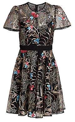 ML Monique Lhuillier Women's Floral Embroidered Illusion Fit-&-Flare Dress