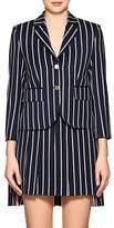 Thom Browne Women's Striped Wool-Cotton Three-Button Blazer