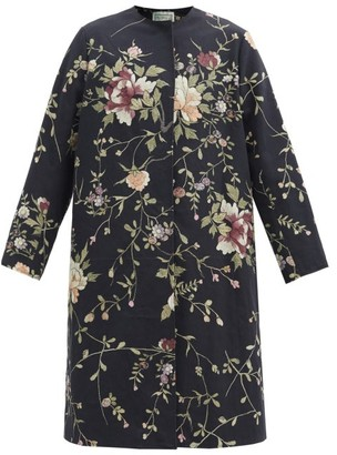 By Walid Tanita Floral-embroidered Cotton-canvas Coat - Black Multi