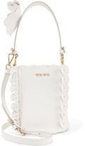 Miu Miu Appliquéd Leather Bucket Bag - White
