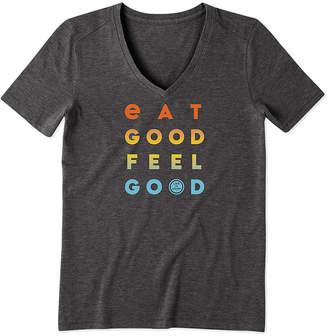 Life is Good Women's Tee Shirts Night - Night Black 'Eat Good Feel Good' Cool Vee V-Neck Top - Women & Plus
