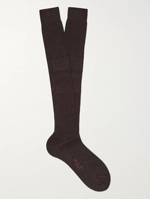 Loro Piana Ribbed Cashmere and Silk-Blend Over-The-Calf Socks - Men - Brown