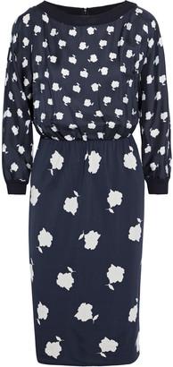 Max Mara Gelada Floral-print Silk-twill And Jersey Dress
