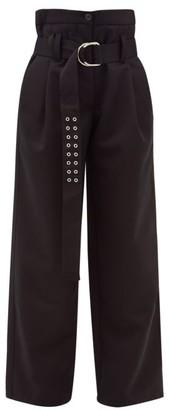La Fetiche - Yves High-rise Belted Wool Wide-leg Trousers - Black