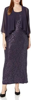 SL Fashions Women's Size Sequin Stretch Lace Long with Chiffon JKT Plus