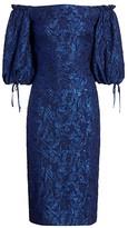 Theia Metallic Off-the-Shoulder Puff-Sleeve Dress