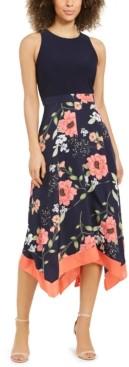 Vince Camuto Floral-Print Asymmetrical-Hem Dress